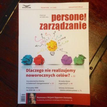 """""""Dlaczego nie realizujemy noworocznych celów?"""" mój najnowszy artykuł dla Magazynu """"Personel i Zarządzanie"""""""